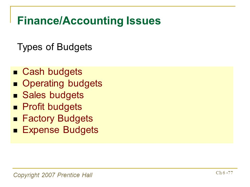 Copyright 2007 Prentice Hall Ch 6 -77 Cash budgets Operating budgets Sales budgets Profit budgets Factory Budgets Expense Budgets Finance/Accounting I