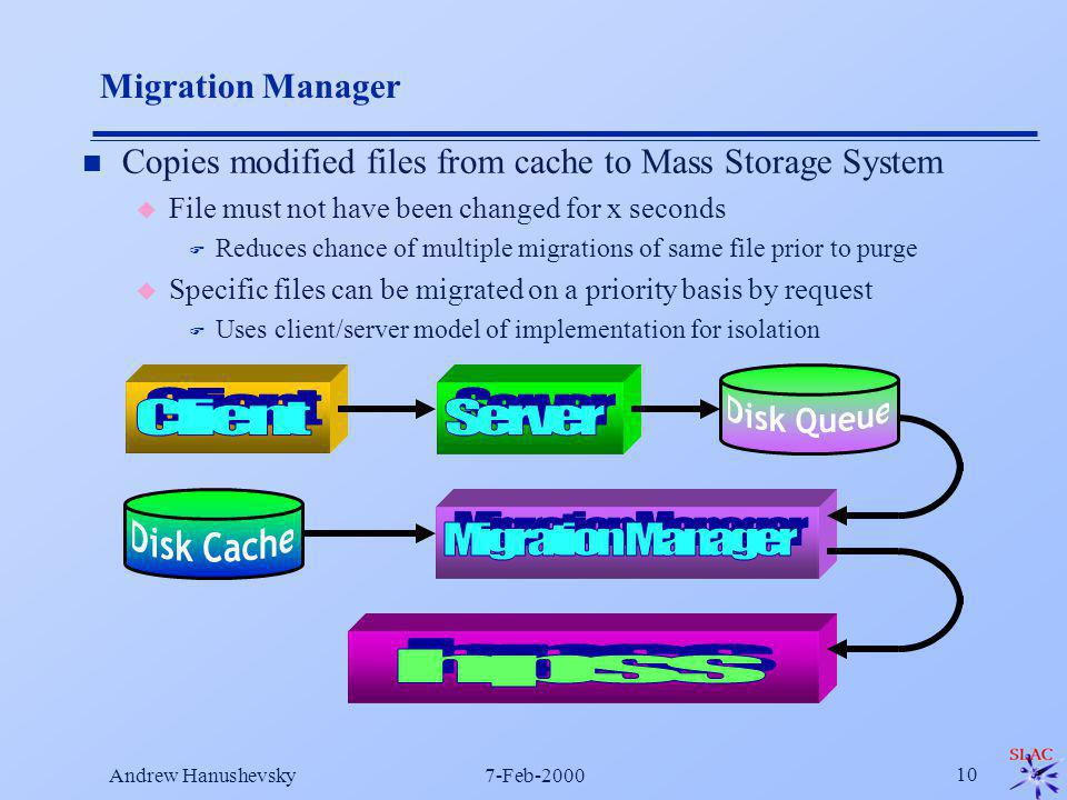 Andrew Hanushevsky7-Feb-2000 10 n Copies modified files from cache to Mass Storage System u File must not have been changed for x seconds F Reduces chance of multiple migrations of same file prior to purge u Specific files can be migrated on a priority basis by request F Uses client/server model of implementation for isolation Migration Manager