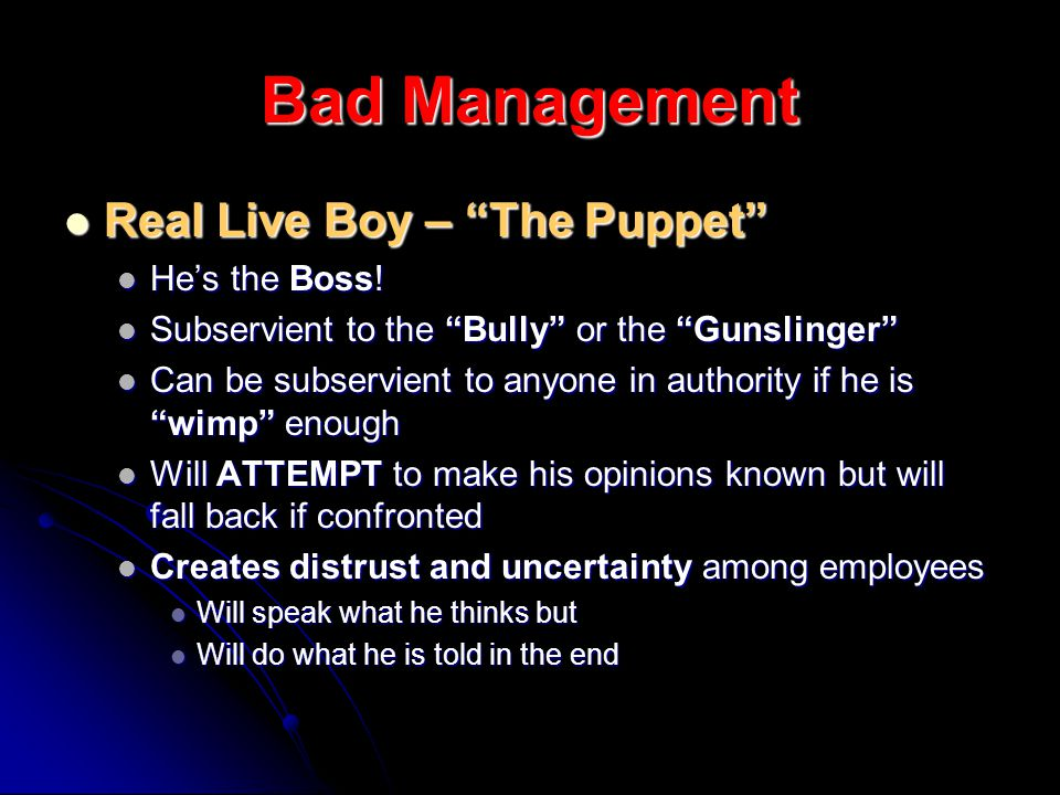 Bad Management Real Live Boy – The Puppet Real Live Boy – The Puppet Hes the Boss.