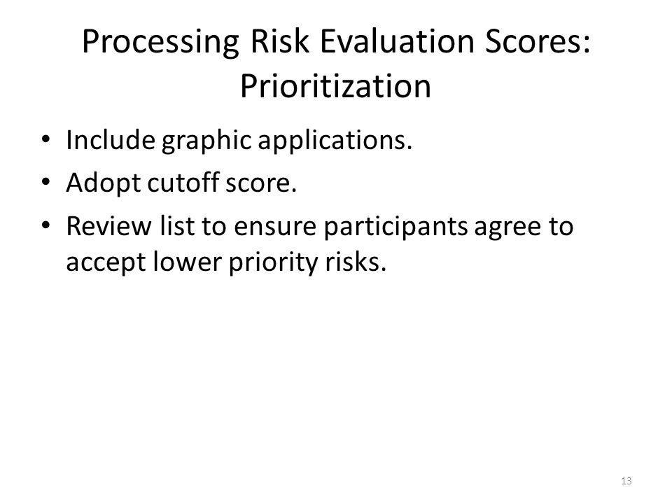 Processing Risk Evaluation Scores: Prioritization Include graphic applications.