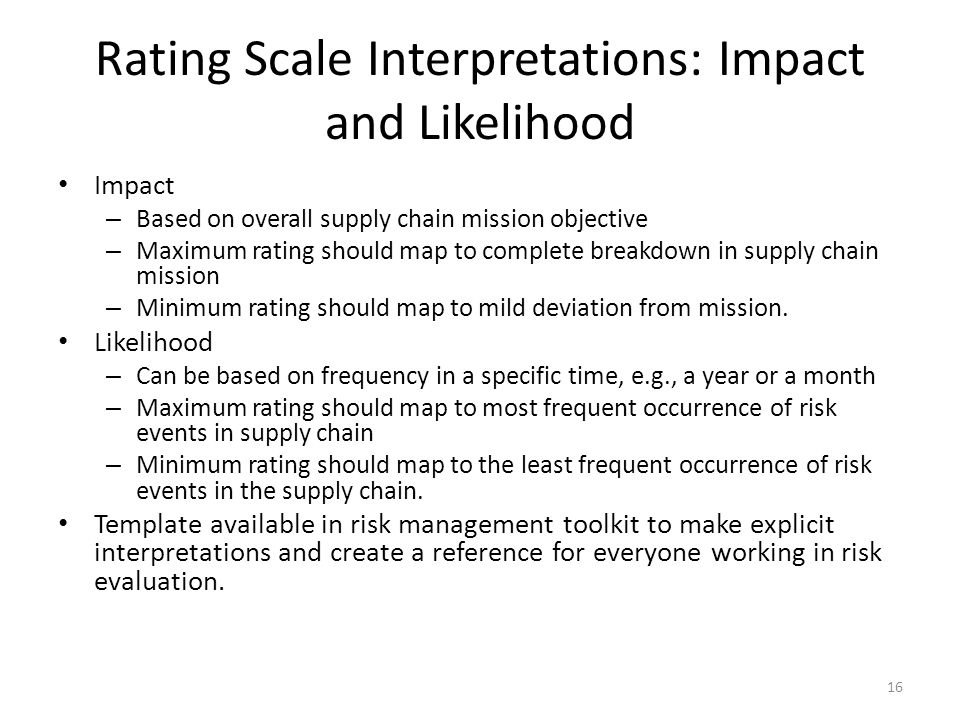 Rating Scale Interpretations: Impact and Likelihood Impact – Based on overall supply chain mission objective – Maximum rating should map to complete breakdown in supply chain mission – Minimum rating should map to mild deviation from mission.
