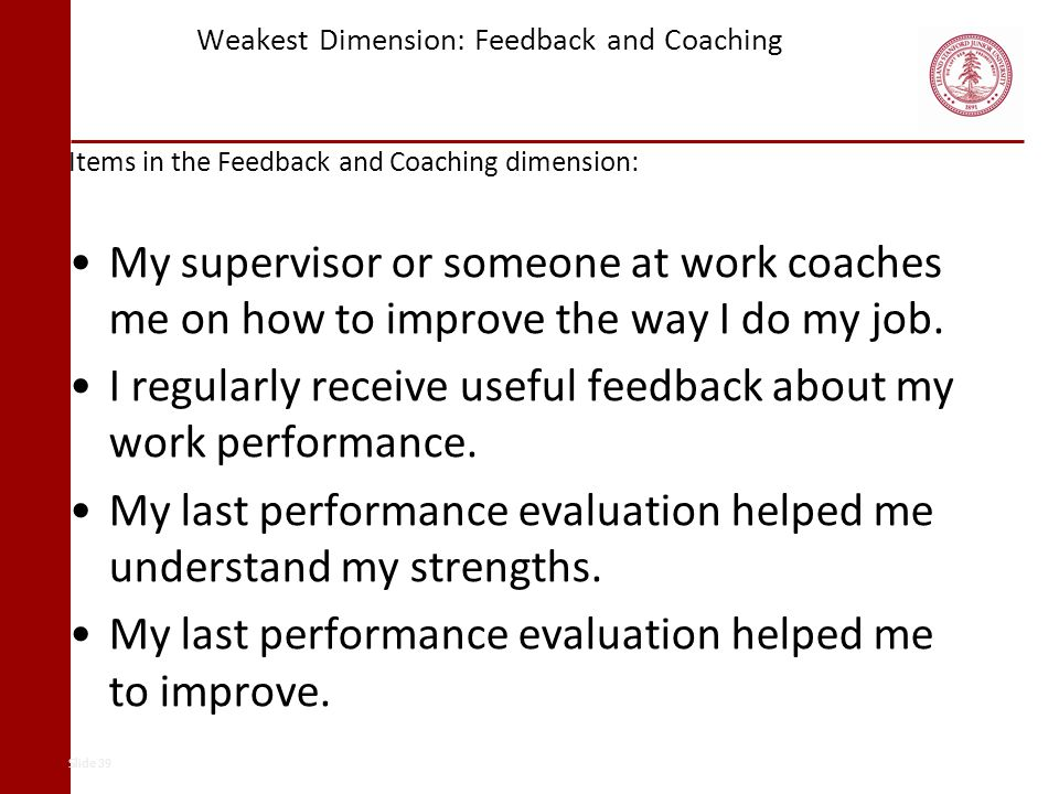 Weakest Dimension: Feedback and Coaching Items in the Feedback and Coaching dimension: My supervisor or someone at work coaches me on how to improve t