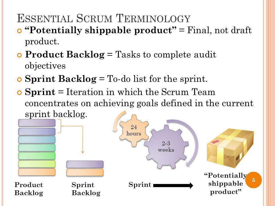 E SSENTIAL S CRUM T ERMINOLOGY Potentially shippable product = Final, not draft product.