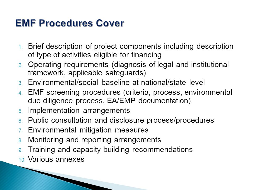 1. Brief description of project components including description of type of activities eligible for financing 2. Operating requirements (diagnosis of