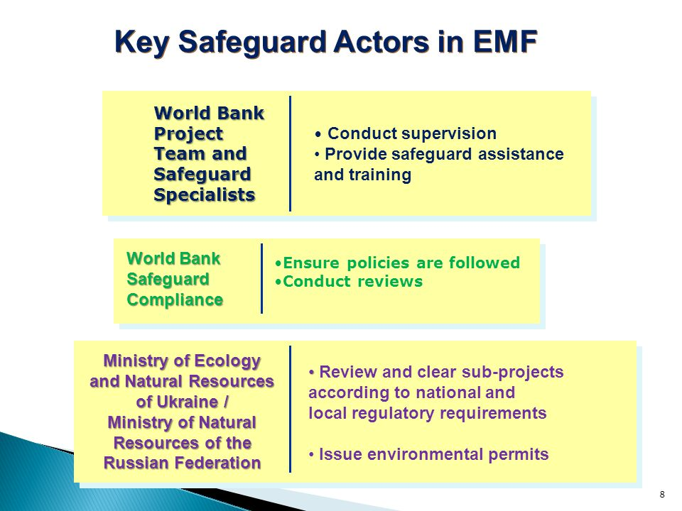 8 World Bank Project Team and SafeguardSpecialists Key Safeguard Actors in EMF Ministry of Ecology and Natural Resources of Ukraine / Ministry of Natural Resources of the Russian Federation Review and clear sub-projects according to national and local regulatory requirements Issue environmental permits Conduct supervision Provide safeguard assistance and training Ensure policies are followed Conduct reviews World Bank Safeguard Compliance