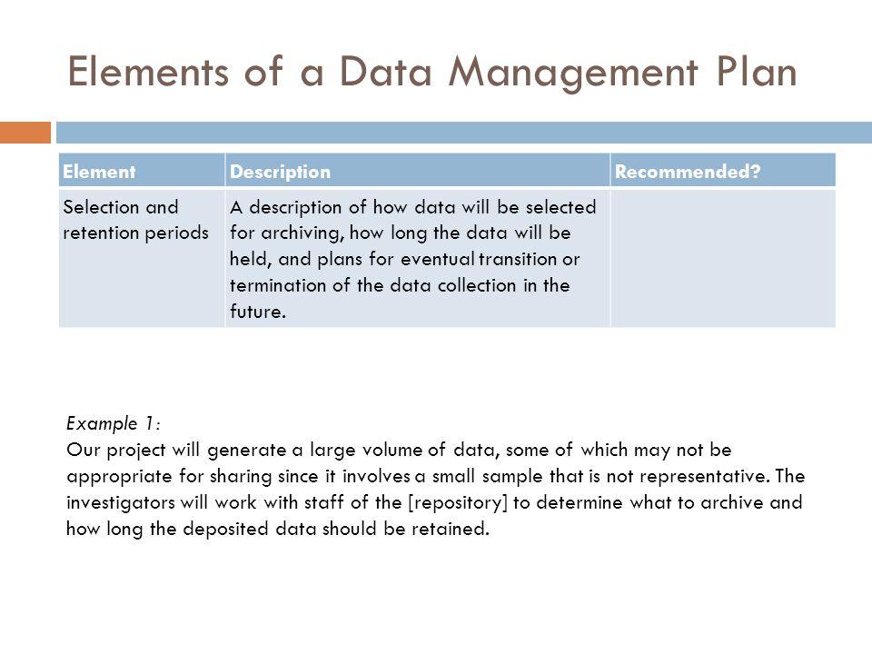 Elements of a Data Management Plan ElementDescriptionRecommended.