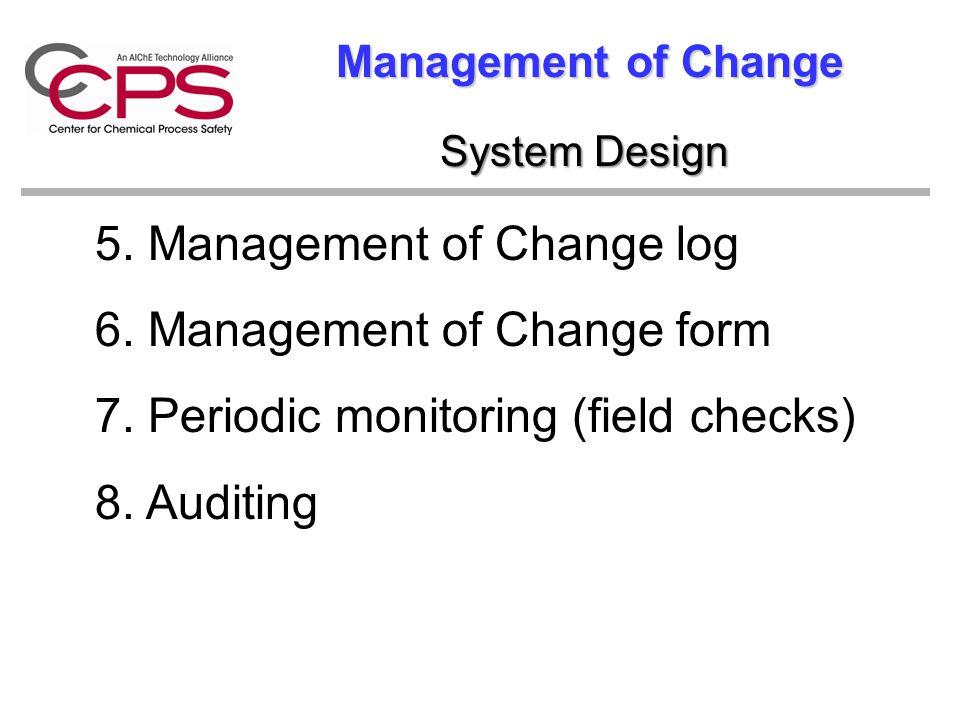 Management of Change 5. Management of Change log 6. Management of Change form 7. Periodic monitoring (field checks) 8. Auditing System Design