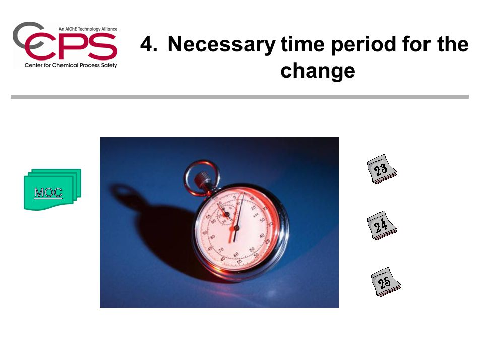 4.Necessary time period for the change