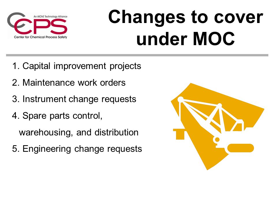 Changes to cover under MOC 1.Capital improvement projects 2.