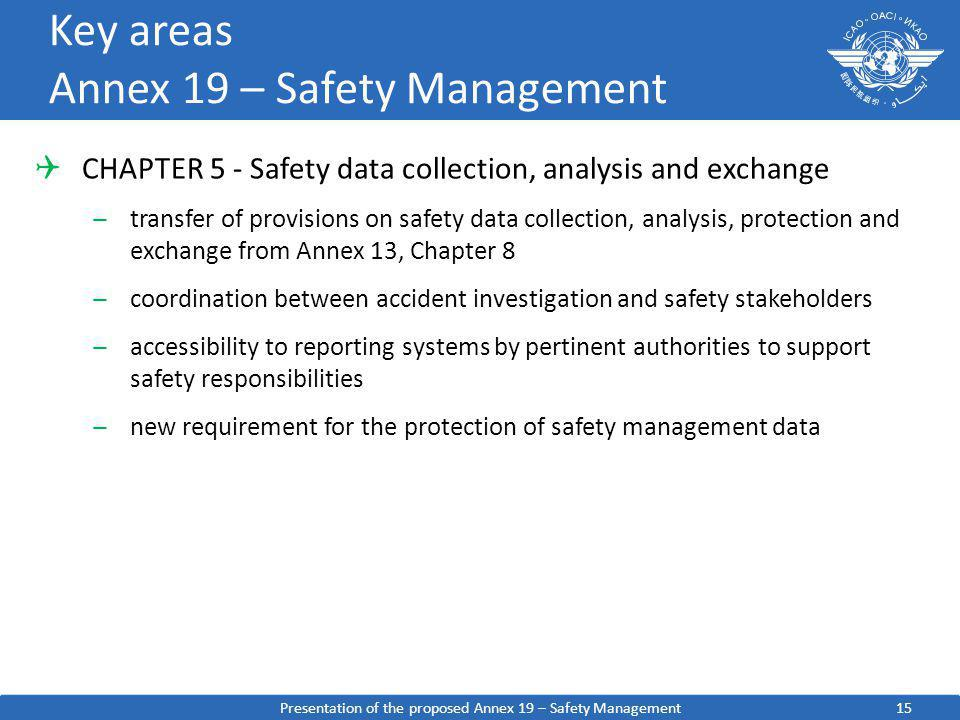 15 Key areas Annex 19 – Safety Management CHAPTER 5 - Safety data collection, analysis and exchange ̶transfer of provisions on safety data collection,