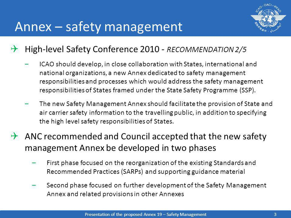 3 Annex – safety management High-level Safety Conference 2010 - RECOMMENDATION 2/5 –ICAO should develop, in close collaboration with States, internati