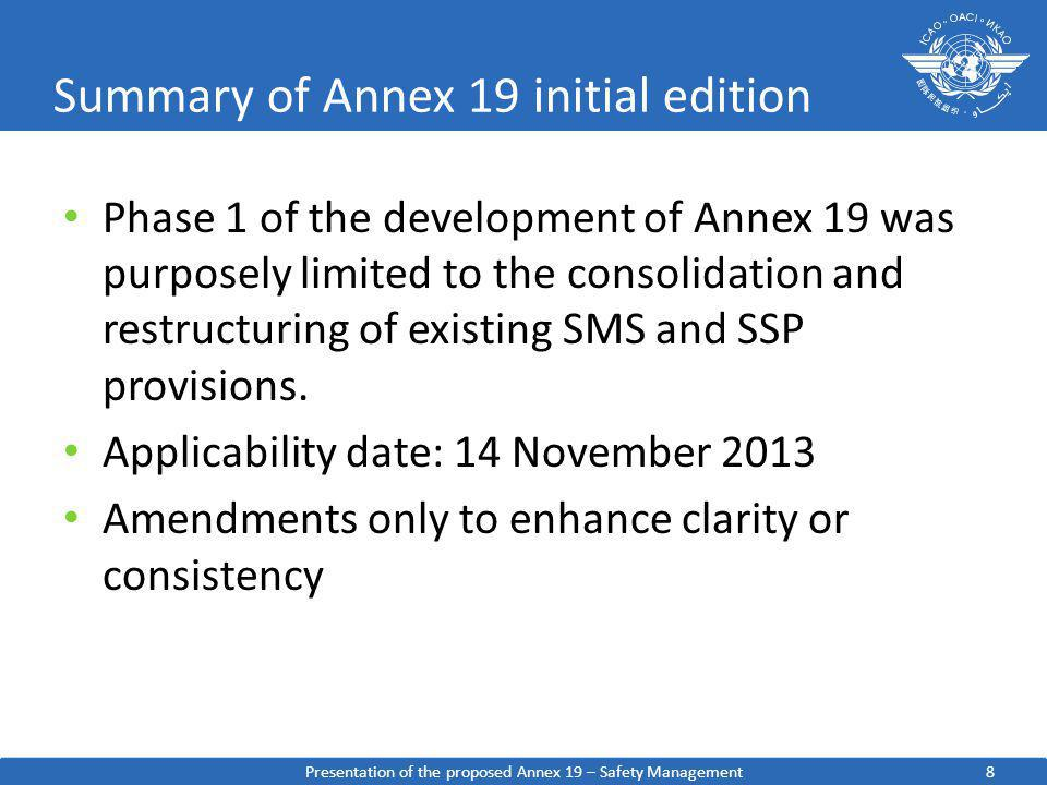 8 Summary of Annex 19 initial edition Phase 1 of the development of Annex 19 was purposely limited to the consolidation and restructuring of existing