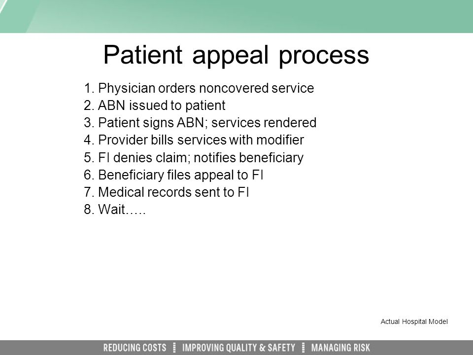 Patient appeal process 1.Physician orders noncovered service 2.