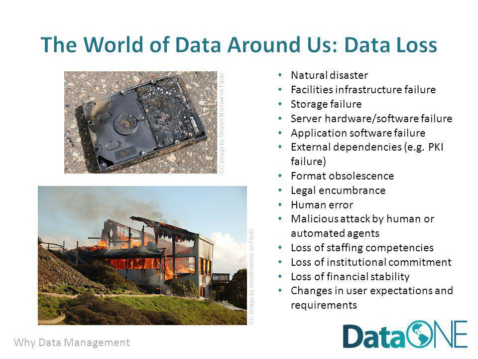 Why Data Management Natural disaster Facilities infrastructure failure Storage failure Server hardware/software failure Application software failure External dependencies (e.g.