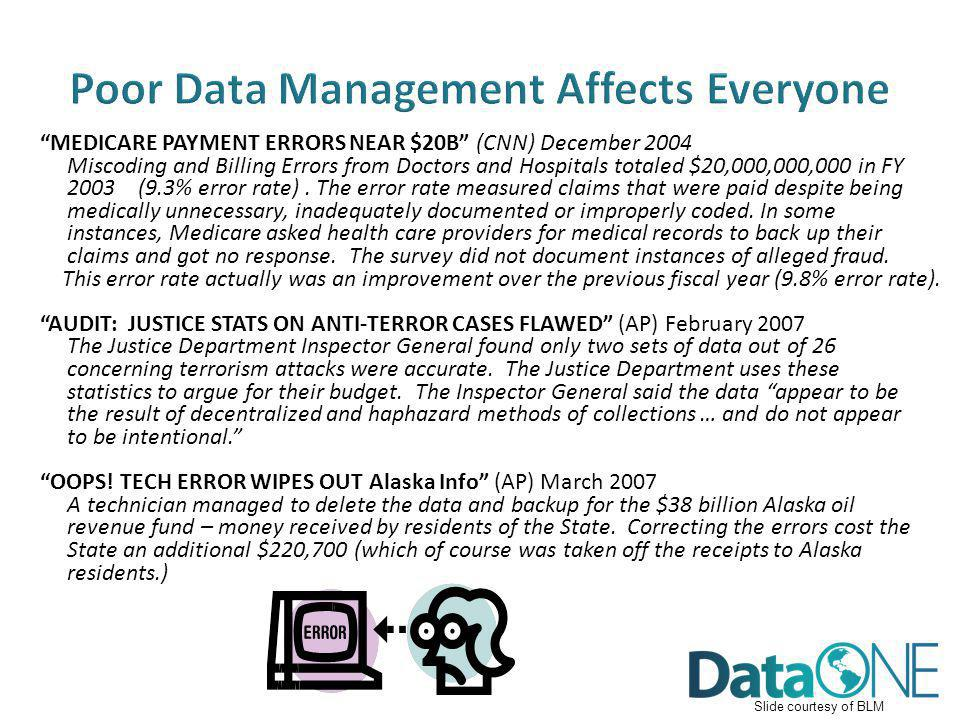 Poor Data Management Affects Everyone MEDICARE PAYMENT ERRORS NEAR $20B (CNN) December 2004 Miscoding and Billing Errors from Doctors and Hospitals to