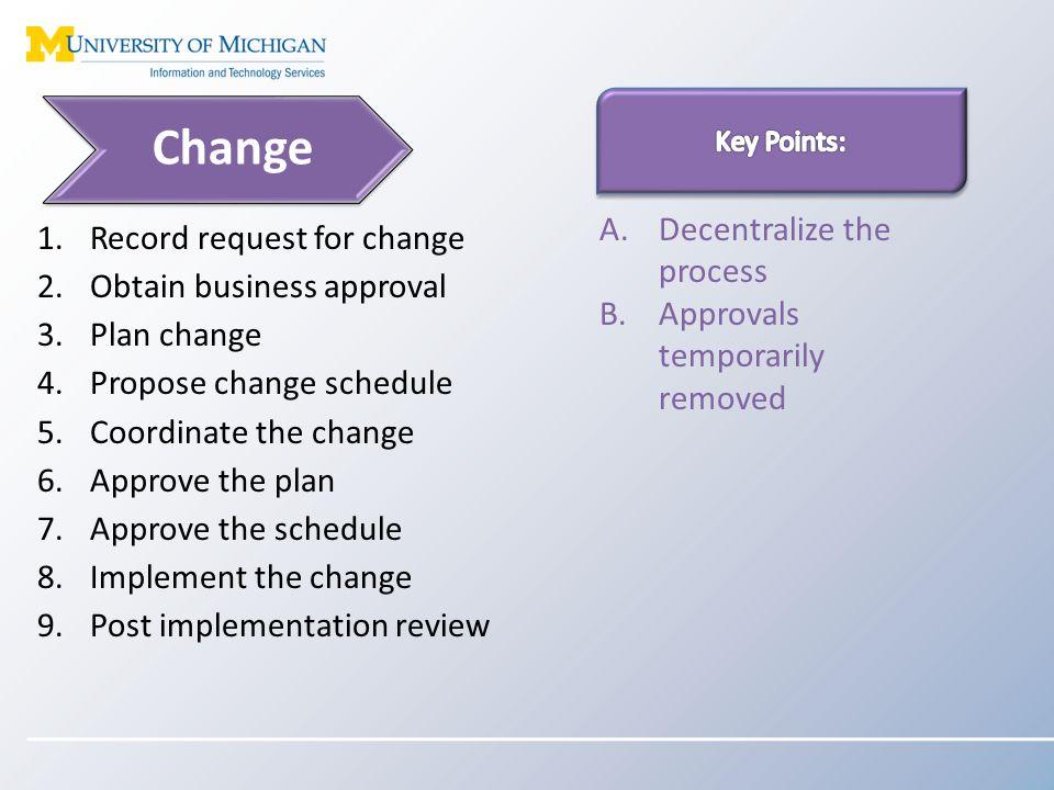 Questions Joe Taubitz (jtaubitz@umich.edu) Change Management Process Manager Anonymous feedback form: https://backstage.itcs.umich.edu/process-implementation/ https://backstage.itcs.umich.edu/process-implementation/ Feedback page results: https://collaborate.adsroot.itcs.umich.edu/mais/group/itsSer viceManagement/itsProcessImplementation/Lists/Feedback/ AllItems.aspx https://collaborate.adsroot.itcs.umich.edu/mais/group/itsSer viceManagement/itsProcessImplementation/Lists/Feedback/ AllItems.aspx ITS Backstage page: https://backstage.its.umich.edu/transition/rationalization/ser vice-management/ https://backstage.its.umich.edu/transition/rationalization/ser vice-management/