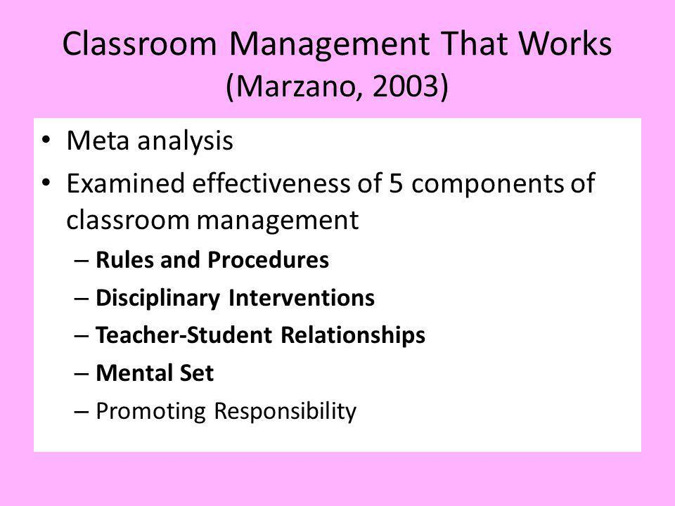 Classroom Management That Works (Marzano, 2003) Meta analysis Examined effectiveness of 5 components of classroom management – Rules and Procedures –