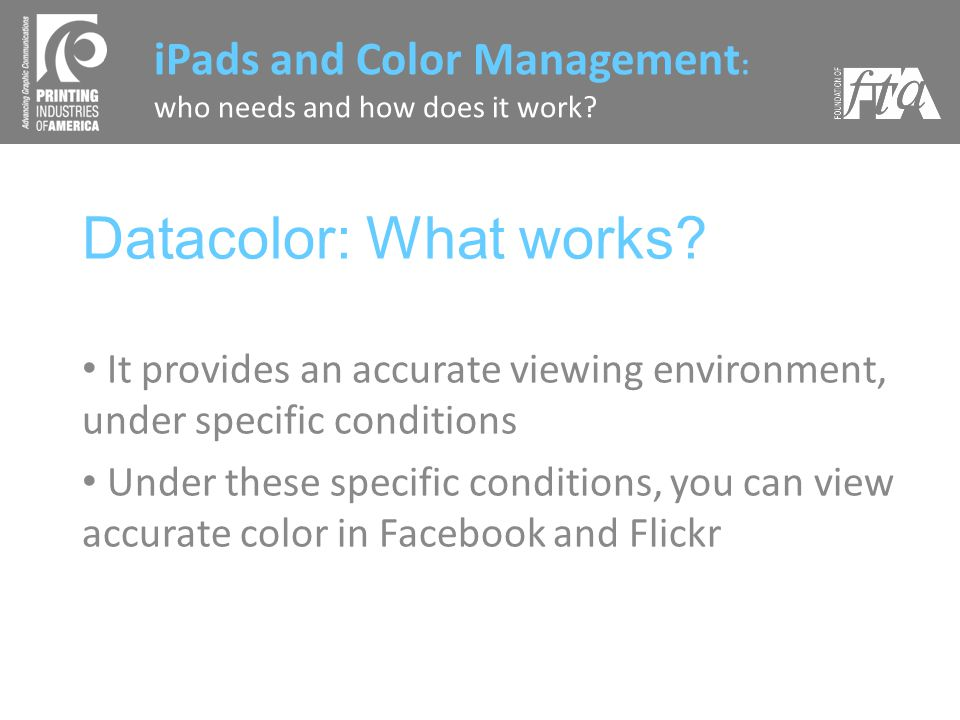 Datacolor: What works.