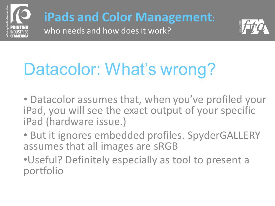 Datacolor: Whats wrong.