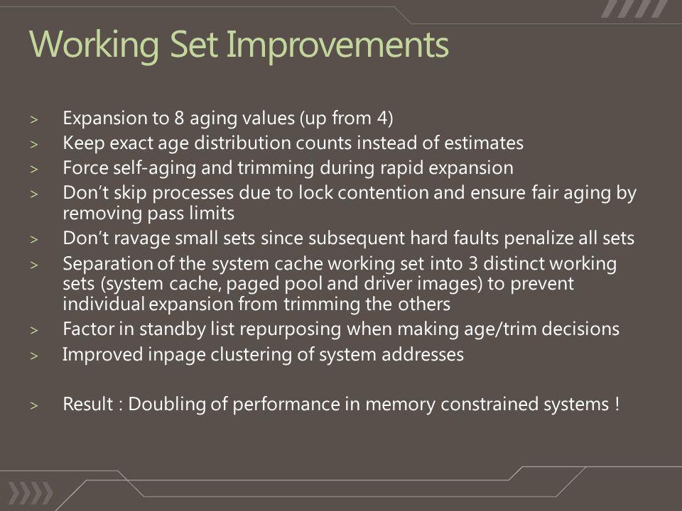 Working Set Improvements