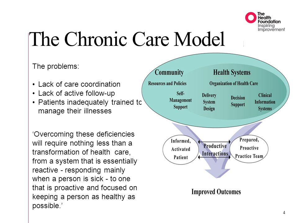 The problems: Lack of care coordination Lack of active follow-up Patients inadequately trained to manage their illnesses The Chronic Care Model 4 Over