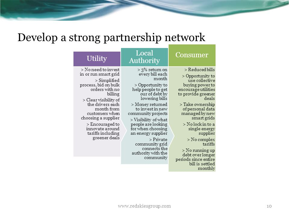 Develop a strong partnership network www.redskiesgroup.com10 > Reduced bills > Opportunity to use collective buying power to encourage utilities to pr