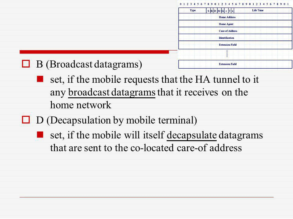 B (Broadcast datagrams) set, if the mobile requests that the HA tunnel to it any broadcast datagrams that it receives on the home network D (Decapsula