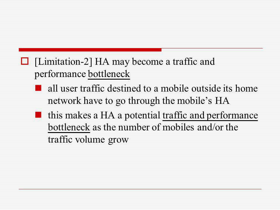 [Limitation-2] HA may become a traffic and performance bottleneck all user traffic destined to a mobile outside its home network have to go through th