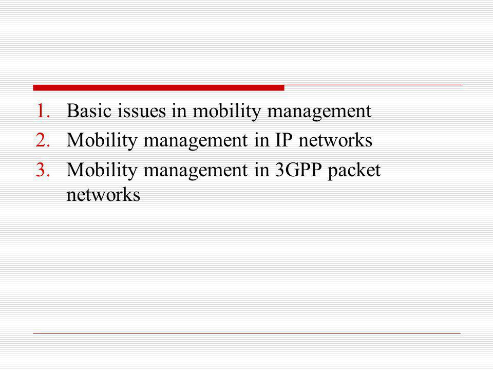 2.6.1 Movement Detection SIP application to handle mobility should detect when the mobile terminal changes its IP address (e.g., moves into a new IP network) and what the new IP address will be DHCP can help to detect network change and acquire new IP addresses mobile may ask a DHCP server for a new IP address each time the mobile detects a handoff from one radio cell to another mobile will supply its current IP address as the preferred address in its request sent to DHCP server