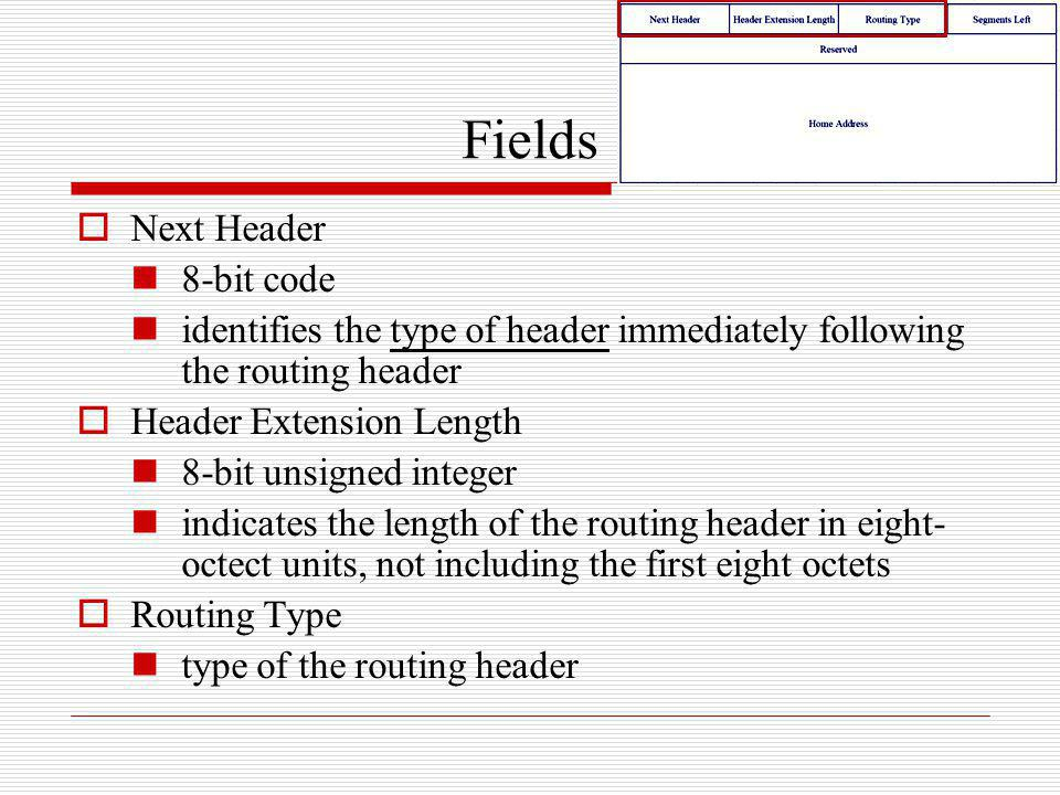 Fields Next Header 8-bit code identifies the type of header immediately following the routing header Header Extension Length 8-bit unsigned integer in