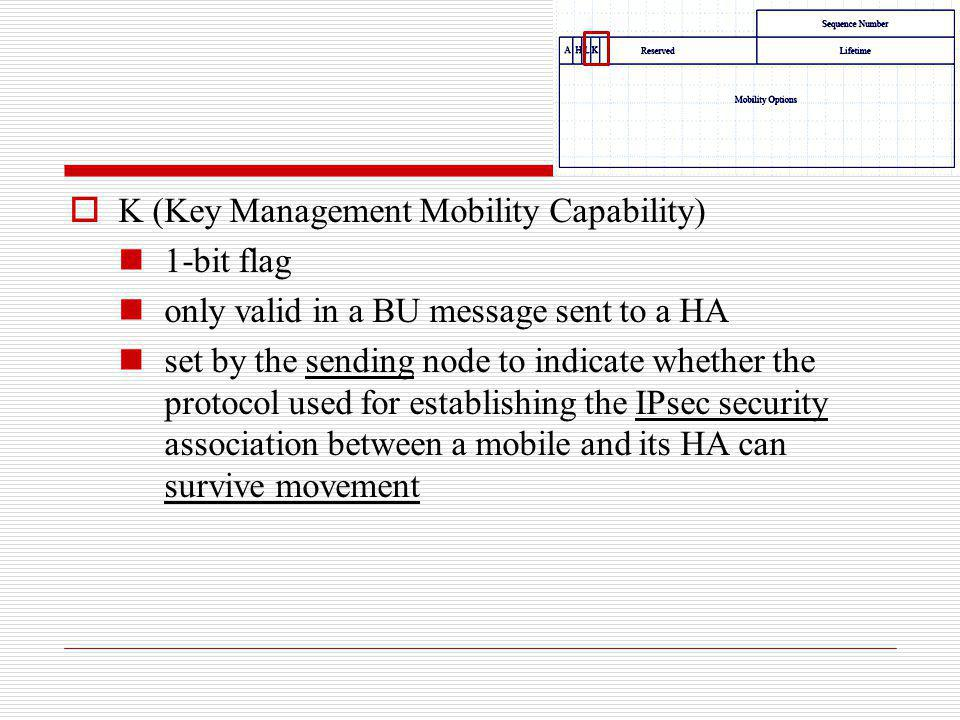 K (Key Management Mobility Capability) 1-bit flag only valid in a BU message sent to a HA set by the sending node to indicate whether the protocol use
