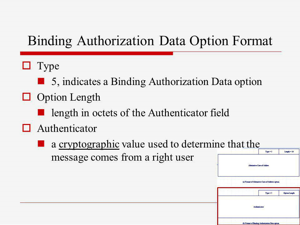 Binding Authorization Data Option Format Type 5, indicates a Binding Authorization Data option Option Length length in octets of the Authenticator fie
