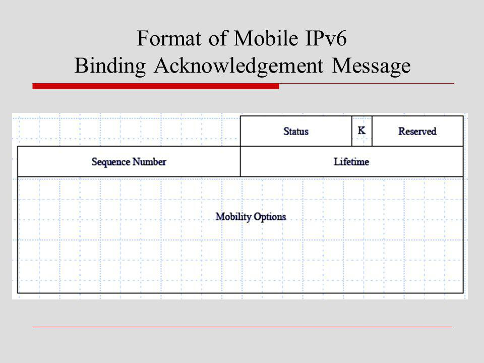 Format of Mobile IPv6 Binding Acknowledgement Message