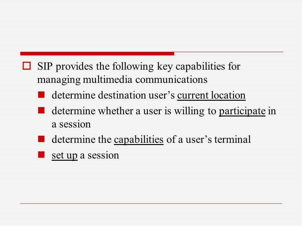 SIP provides the following key capabilities for managing multimedia communications determine destination users current location determine whether a us