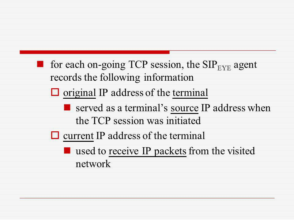 for each on-going TCP session, the SIP EYE agent records the following information original IP address of the terminal served as a terminals source IP