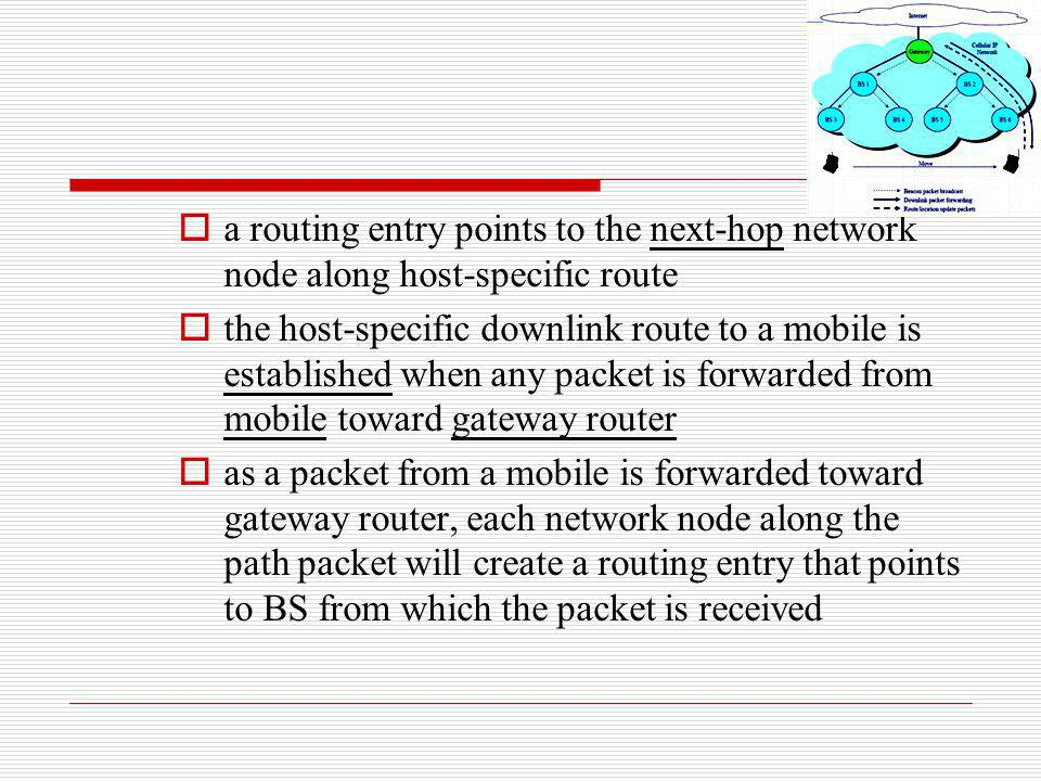 a routing entry points to the next-hop network node along host-specific route the host-specific downlink route to a mobile is established when any pac
