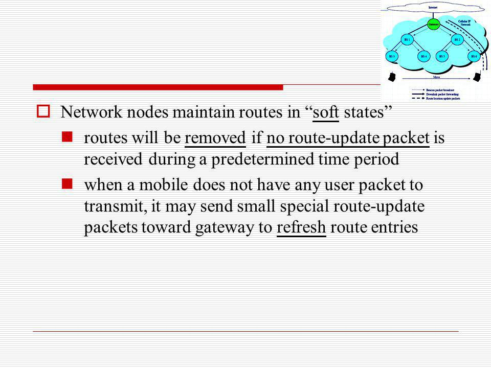 Network nodes maintain routes in soft states routes will be removed if no route-update packet is received during a predetermined time period when a mo