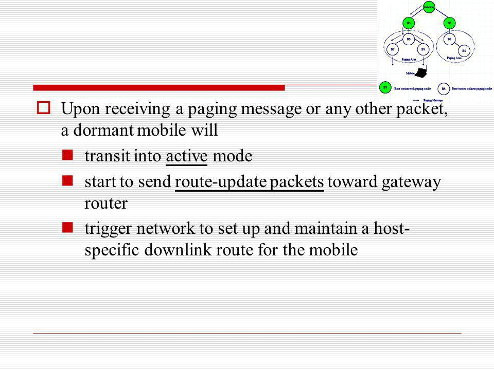 Upon receiving a paging message or any other packet, a dormant mobile will transit into active mode start to send route-update packets toward gateway