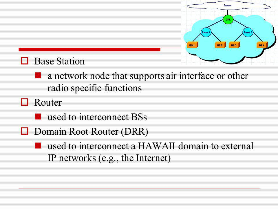 Base Station a network node that supports air interface or other radio specific functions Router used to interconnect BSs Domain Root Router (DRR) use