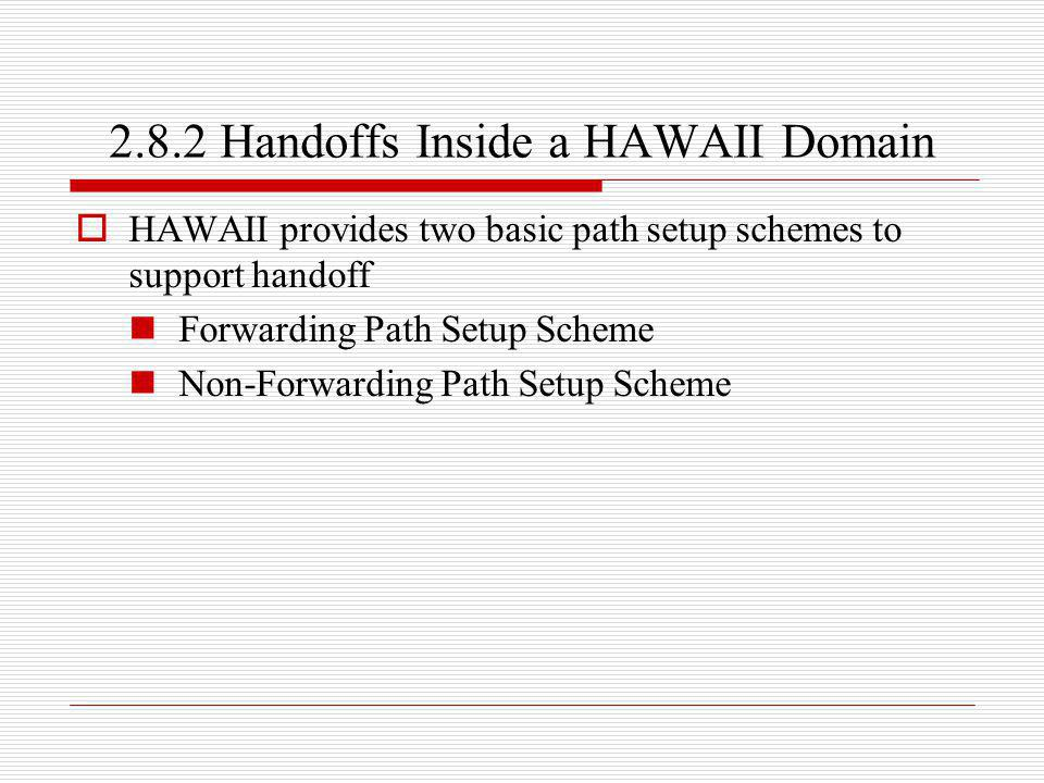 2.8.2 Handoffs Inside a HAWAII Domain HAWAII provides two basic path setup schemes to support handoff Forwarding Path Setup Scheme Non-Forwarding Path
