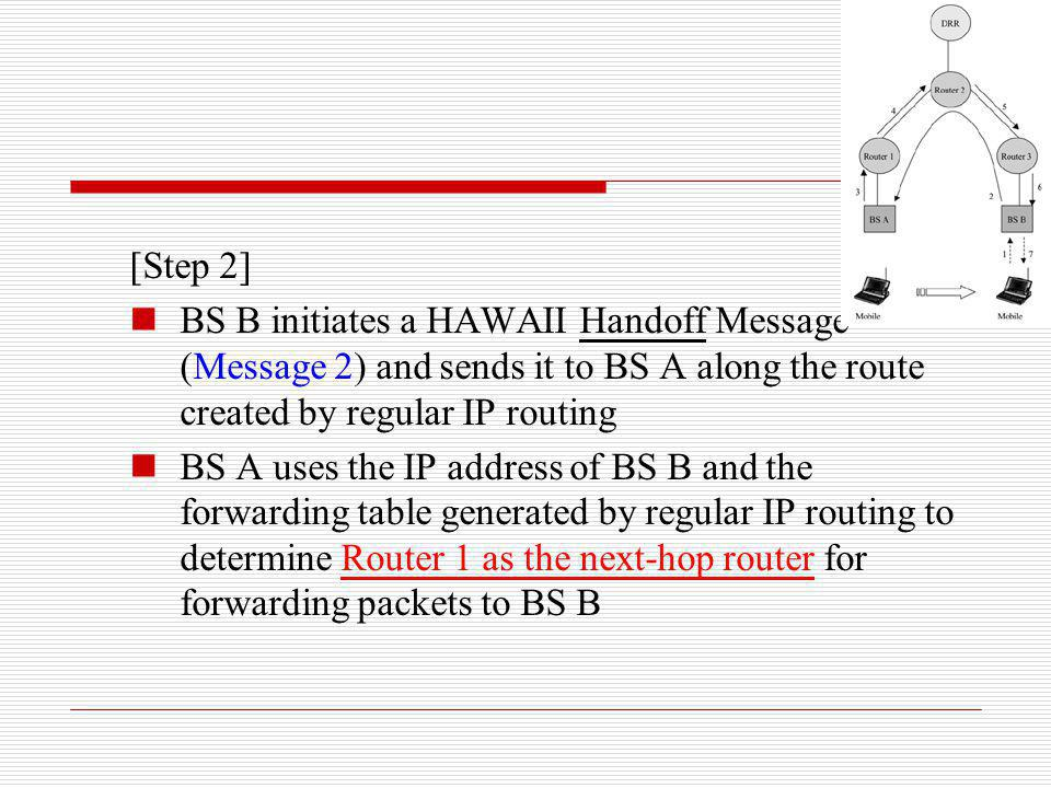 [Step 2] BS B initiates a HAWAII Handoff Message (Message 2) and sends it to BS A along the route created by regular IP routing BS A uses the IP addre