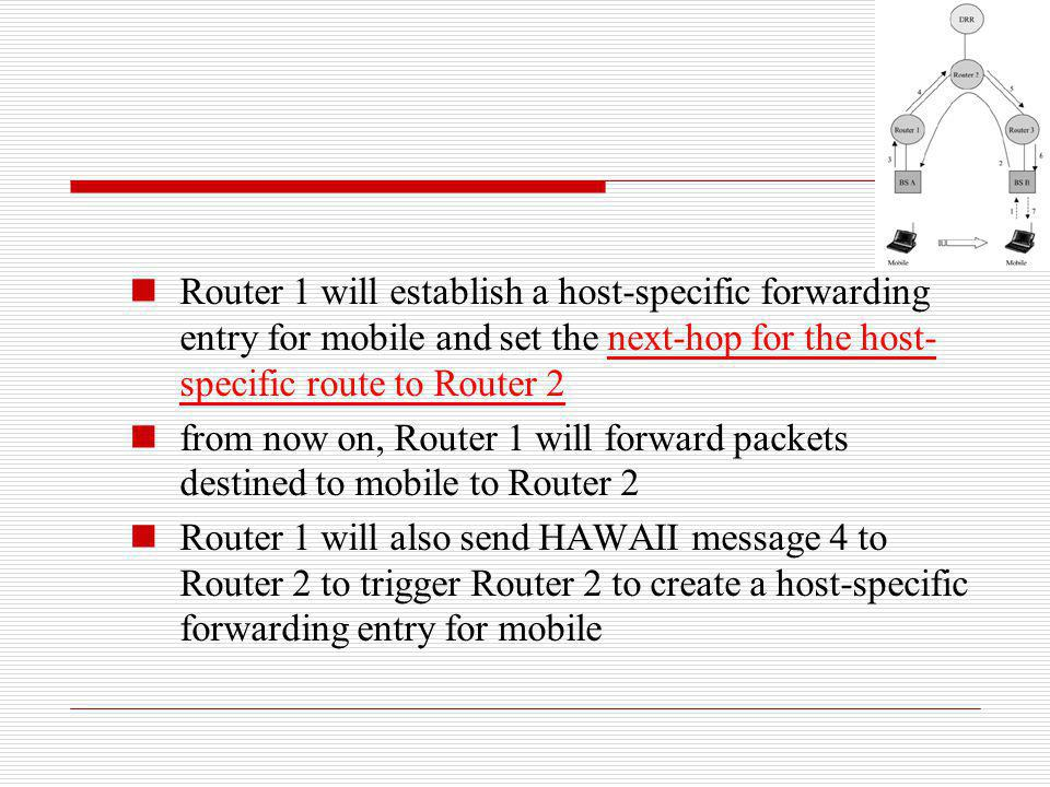 Router 1 will establish a host-specific forwarding entry for mobile and set the next-hop for the host- specific route to Router 2 from now on, Router