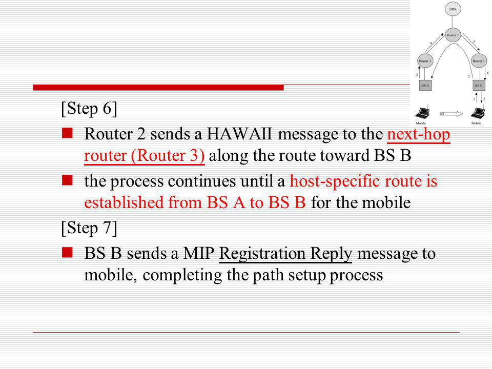 [Step 6] Router 2 sends a HAWAII message to the next-hop router (Router 3) along the route toward BS B the process continues until a host-specific rou