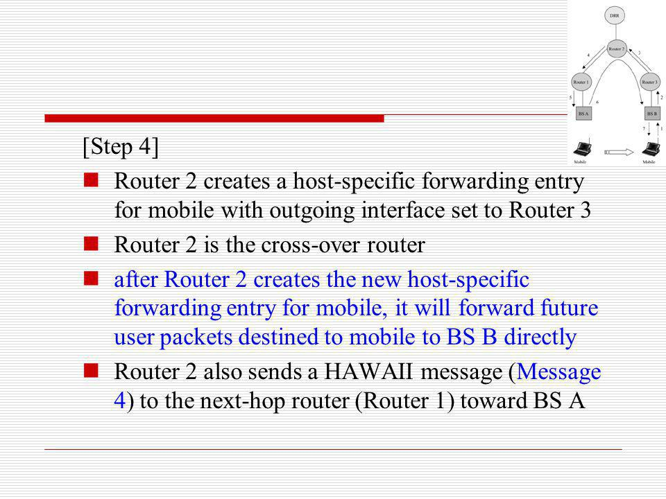 [Step 4] Router 2 creates a host-specific forwarding entry for mobile with outgoing interface set to Router 3 Router 2 is the cross-over router after