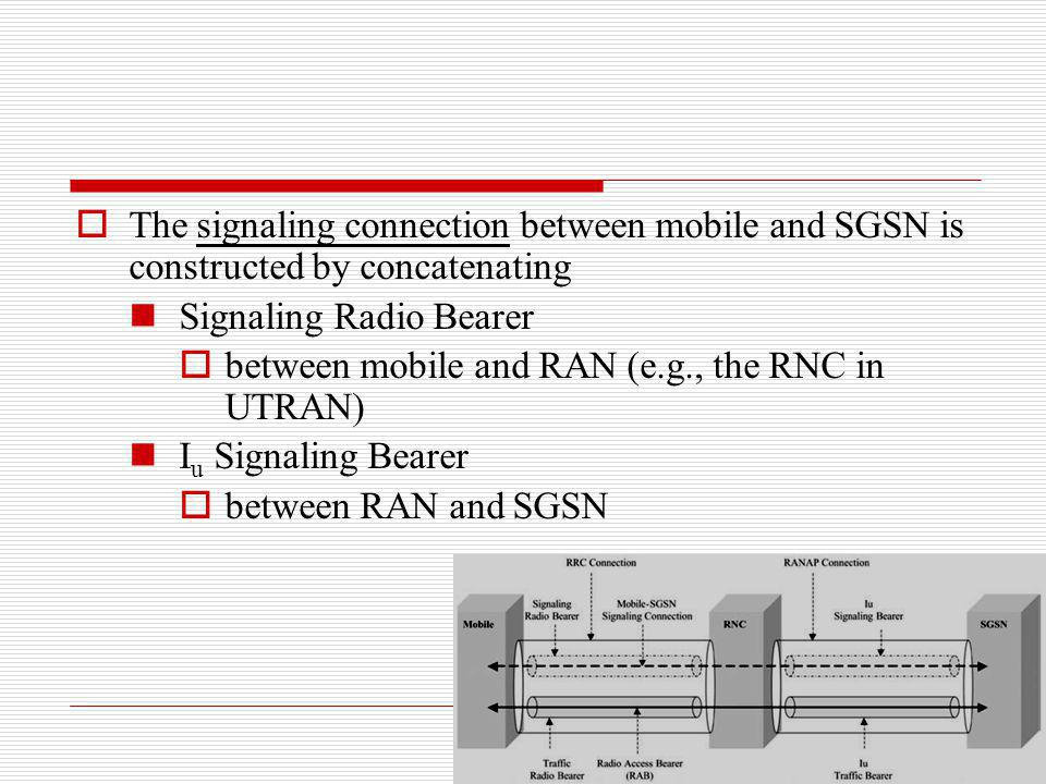 The signaling connection between mobile and SGSN is constructed by concatenating Signaling Radio Bearer between mobile and RAN (e.g., the RNC in UTRAN