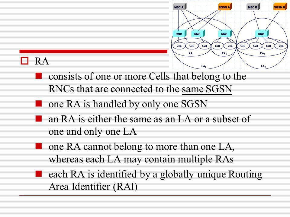 RA consists of one or more Cells that belong to the RNCs that are connected to the same SGSN one RA is handled by only one SGSN an RA is either the sa