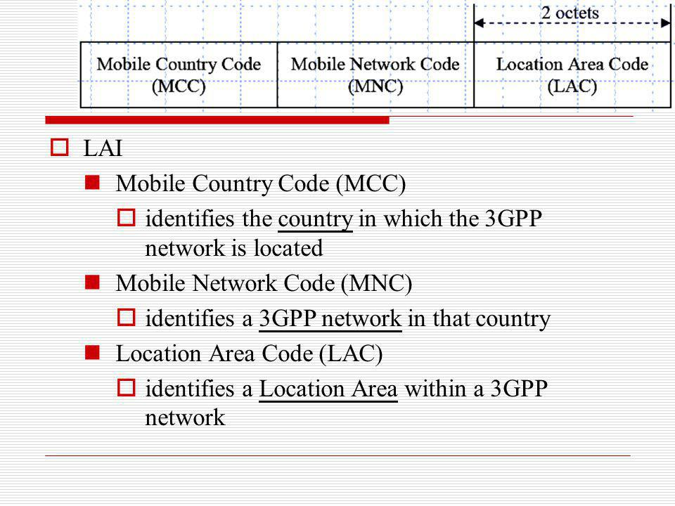 LAI Mobile Country Code (MCC) identifies the country in which the 3GPP network is located Mobile Network Code (MNC) identifies a 3GPP network in that