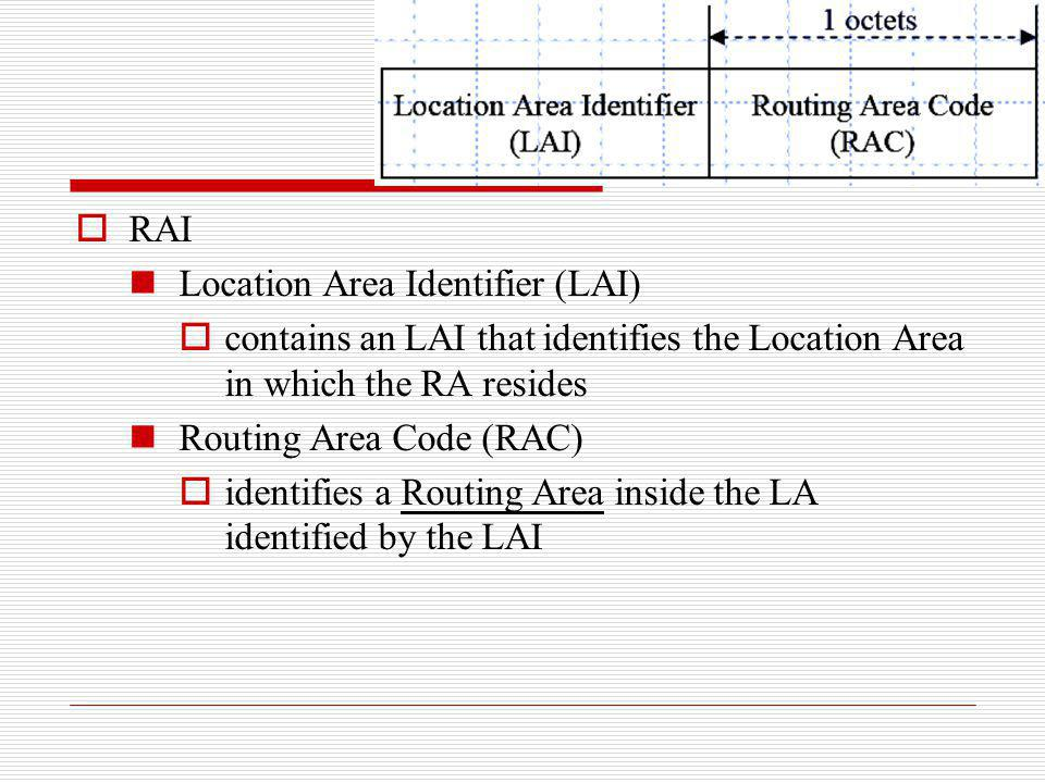 RAI Location Area Identifier (LAI) contains an LAI that identifies the Location Area in which the RA resides Routing Area Code (RAC) identifies a Rout