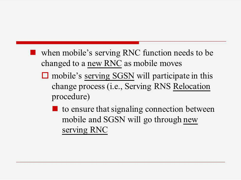 when mobiles serving RNC function needs to be changed to a new RNC as mobile moves mobiles serving SGSN will participate in this change process (i.e.,