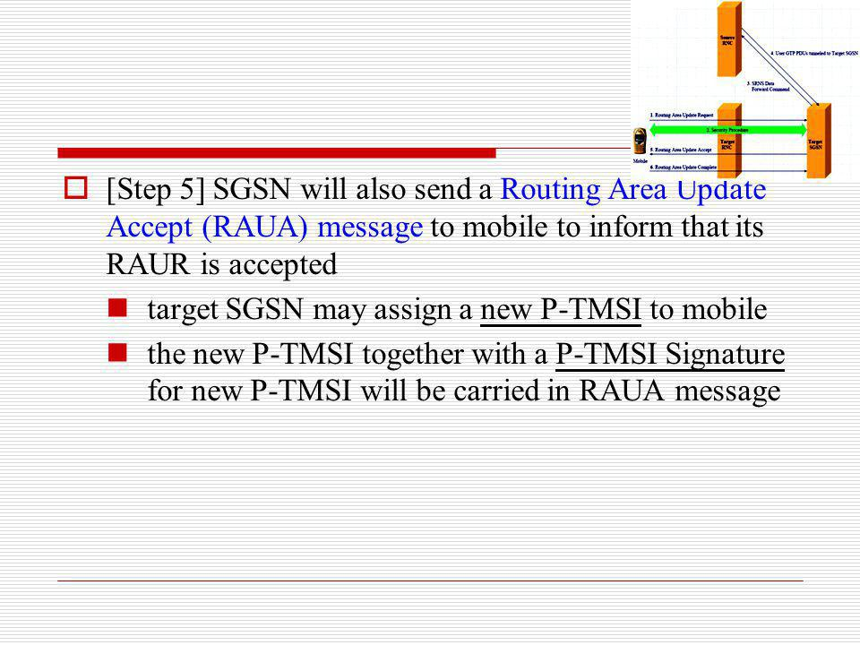 [Step 5] SGSN will also send a Routing Area Update Accept (RAUA) message to mobile to inform that its RAUR is accepted target SGSN may assign a new P-